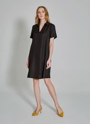 People By Fabrika Tencel V Yakalı Elbise Siyah